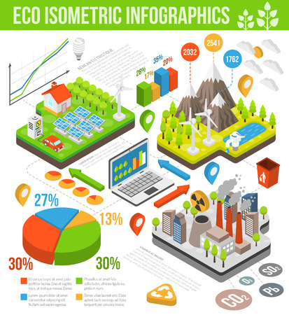 chart vector: Eco isometric infographics with wind turbines solar panels electricity vehicle renewable energy and chart vector illustration Illustration
