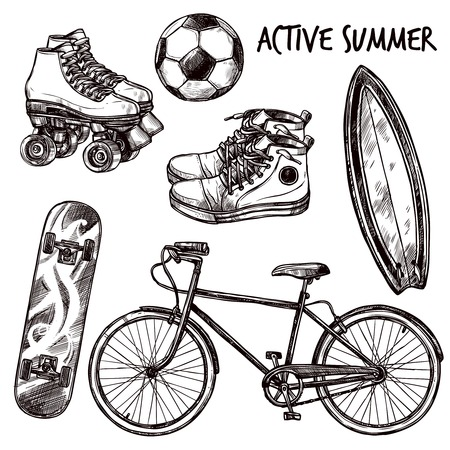 elements: Active recreation and sport equipment sketch set isolated vector illustration
