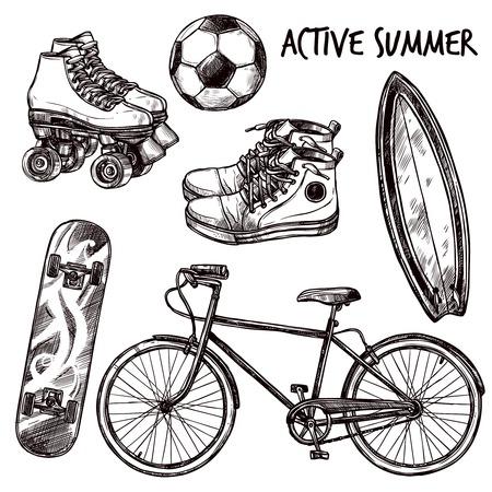 elemento: Attrezzature ricreazione e lo sport attivo schizzo set illustrazione vettoriale isolato