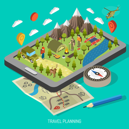 helicopter: Hiking and camping design concept with tourists mountains helicopter backpack tent compass bonfire vector illustration Illustration