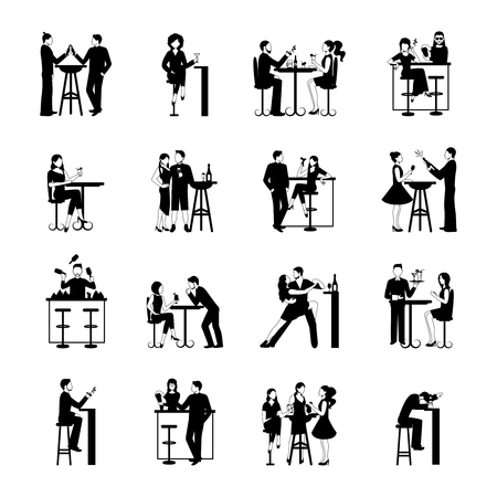 nightclub bar: Drinking people icons set black and white isolated vector illustration Illustration