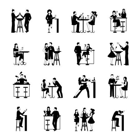 Trinken Menschen Symbole schwarz und weiß isoliert Vektor-Illustration gesetzt Standard-Bild - 48260588