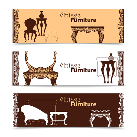 baroque furniture: Hand drawn vintage furniture  horizontal banners in  baroque style  vector illustration