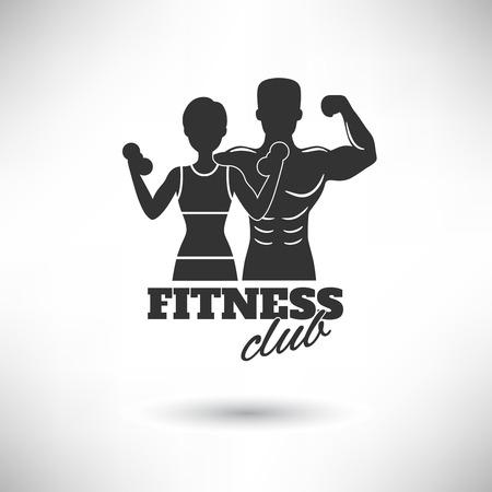 fitness hombres: Centro de fitness negro y blanco impresiones atletas silueta ilustración vectorial