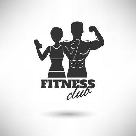 healthy woman white background: Fitness club black and white athletes silhouette poster vector illustration