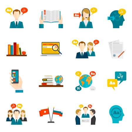 Translation foreign communication and dictionary flat icons set isolated vector illustration Illustration