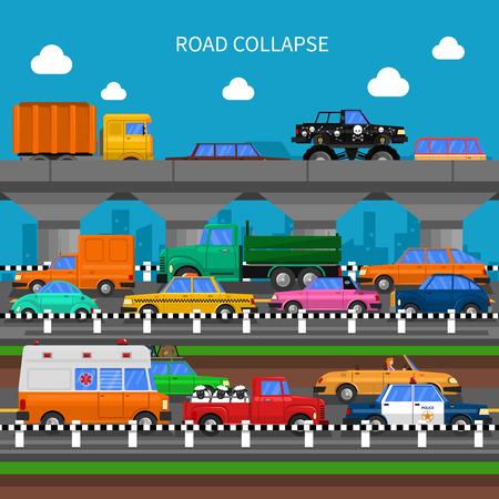 交通: 道路の崩壊やトラフィック ジャムたっぷり車フラット ベクトル図の背景