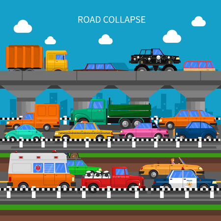 Road collapse and traffic jams background with lots of cars flat vector illustration