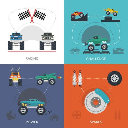 Monster truck design concept set with racing challenge flat icons isolated vector illustration Illustration