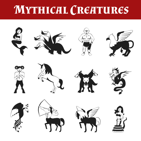 mythical: Mythical creatures black and white decorative icons set isolated vector illustration