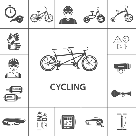 pedal: Bicycle black icons set with sportsmen avatars isolated vector illustration