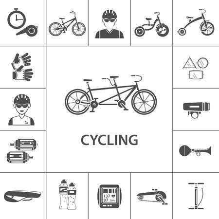 biking glove: Bicycle black icons set with sportsmen avatars isolated vector illustration