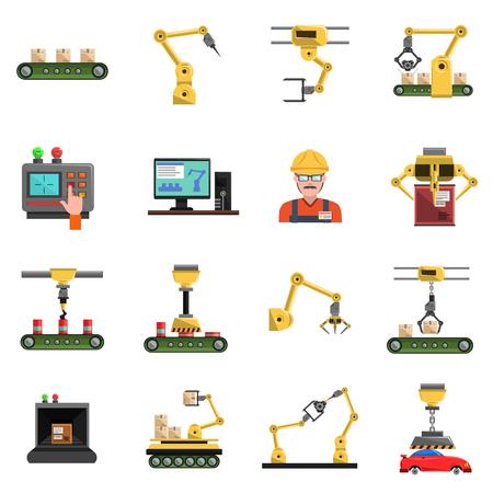 Robot pictogrammen die met transportband monteur en elektronica symbolen platte geïsoleerde vector illustratie