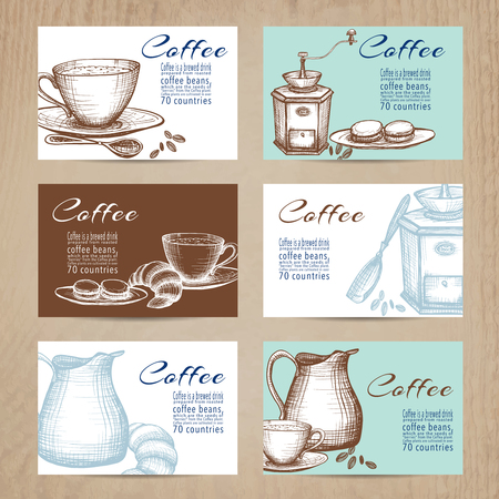 nostalgic: Nostalgic coffee time cards with recipes collection in mini banners form