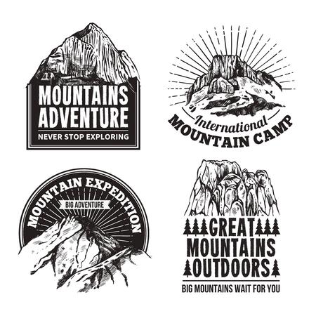 Mountain climbing tourism adventures travel agencies 4  graphic  black labels emblems