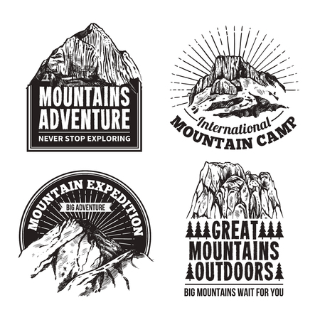 outdoor sport: Mountain climbing tourism adventures travel agencies 4  graphic  black labels emblems