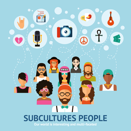 character of people: Subcultures people concept with flat people character set vector illustration Illustration