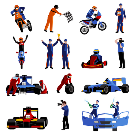 Race and rally icons set with moto auto rally and victory symbols flat isolated vector illustration Illustration