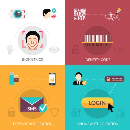 key signature: Verification design concept set with biometrics flat icons isolated vector illustration