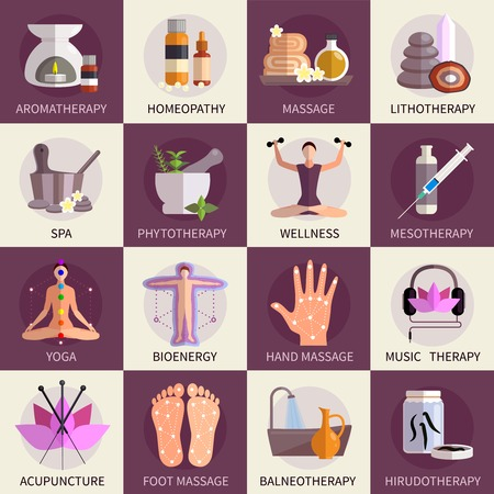 Alternatieve geneeskunde iconen set van yoga acupunctuur wellness homeopathie symbolen flat geïsoleerd vector illustratie Stockfoto - 48267731
