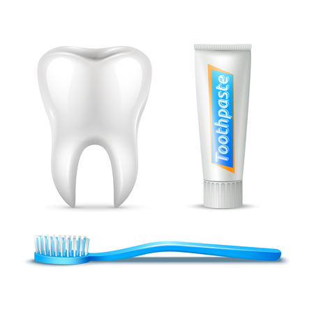 blue tooth: Human tooth brush and paste realistic set isolated vector illustration