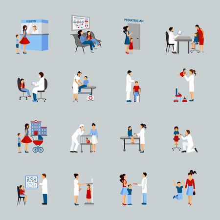 Kinderarts pictogrammen die met artsen kinderen en ouders silhouetten geïsoleerde vector illustratie