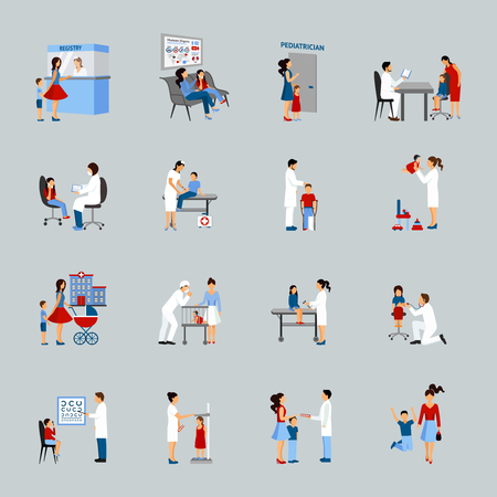 Pediatrician icons set with doctors children and parents silhouettes isolated vector illustration Illustration