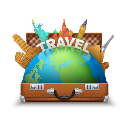 open suitcase: Vintage open tourist suitcase with globe and world landmarks inside vector illustration