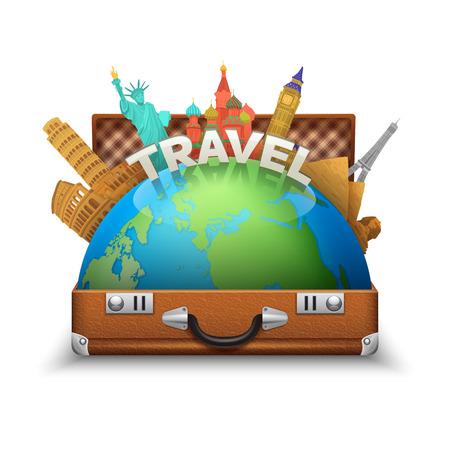 suitcase: Vintage open tourist suitcase with globe and world landmarks inside vector illustration