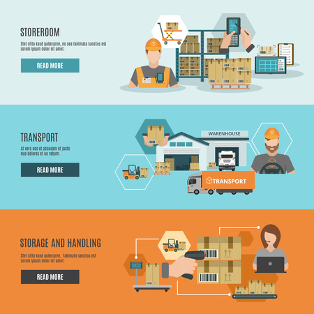 warehouse storage: Warehouse goods storage handling and transportation 3 flat horizontal interactive webpage banners set abstract isolated vector illustration