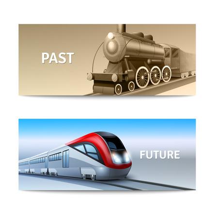 Modern and retro train locomotives horizontal banner set isolated vector illustration