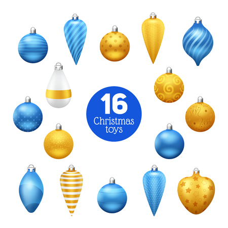 Vintage blue and golden christmas tree balls with ornaments isolated vector illustration Ilustração