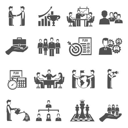 gestion empresarial: Gesti�n de personas y de negocios trabajo en equipo iconos negros fijaron ilustraci�n vectorial aislado