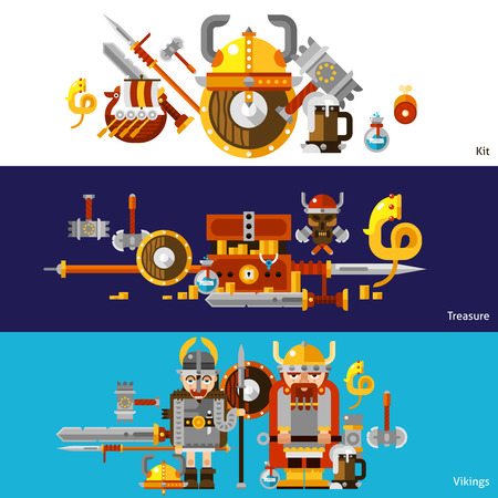viking: Viking horizontal banners set with kit and treasure symbols flat isolated vector illustration