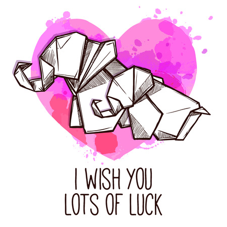 buena suerte: Origami de los elefantes de la buena suerte deseo cordial de tarjeta especial día con el símbolo del corazón garabatos ilustración vectorial abstracto