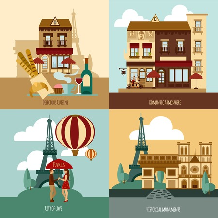 french cafe: Paris touristic set with delicious cuisine and historical landmarks flat icons isolated vector illustration