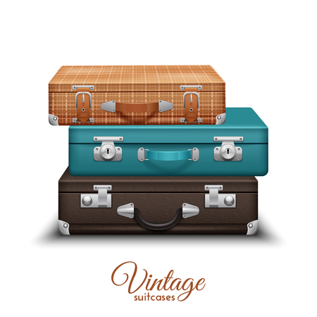 vintage travel: Pile of old vintage travel suitcases set realistic vector illustration Illustration