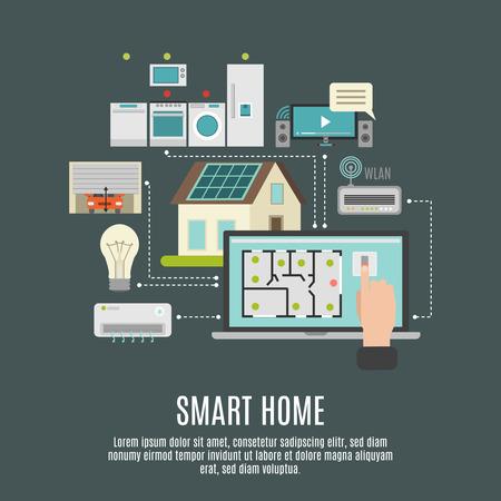 Slimme huis iot remote computer controle flexibiliteit betrouwbaarheid en beveiligingssystemen vlakke achtergrond poster abstract vector illustratie Stockfoto - 48267901