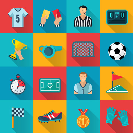 football trophy: Soccer flat icons set with championship prize corner flag sport gloves isolated vector illustration