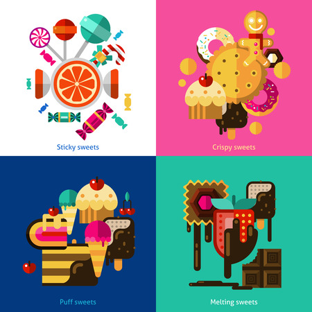crispy: Sweets and candies icons set with sticky crispy puff and melting sweets flat isolated vector illustration