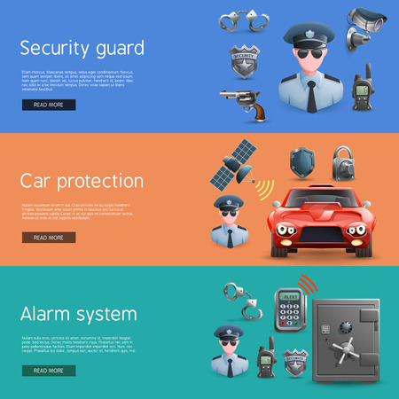 identity protection: Security horizontal  banners set with elements of  car protection  and alarm system vector illustration