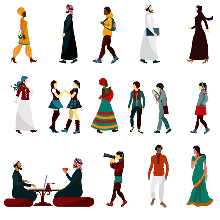 persona caminando: los orientales iconos decorativos masculinos y femeninos establece la ilustración vectorial aislados