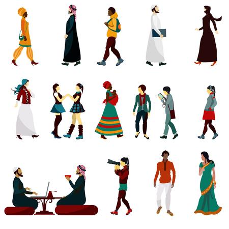 femmes muslim: Personnes Est masculins et féminins icônes décoratifs mis isolé illustration vectorielle