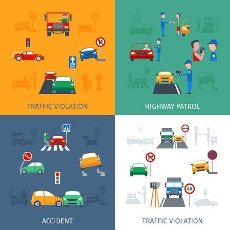 hombre manejando: Violación de tráfico concepto de diseño conjunto con los accidentes de carretera iconos planos aislados ilustración vectorial Vectores