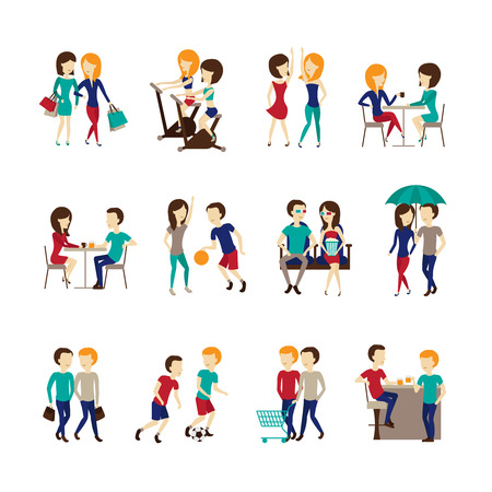 set going: Friends icons set with sports going to a cafe and fitness together symbols  flat isolated vector illustration
