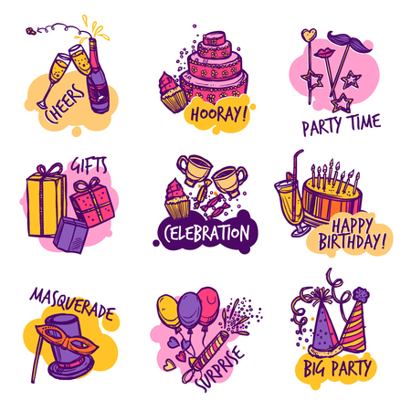 surprise party: Birthday masquerade party colorful emblems or  labels collection with surprise presents and cheers  abstract isolated vector illustration
