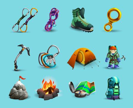 calzado de seguridad: Equipo de montañismo y herramientas de conjunto de iconos 3D con piolet y la ilustración vectorial aislado abstracta arnés Vectores
