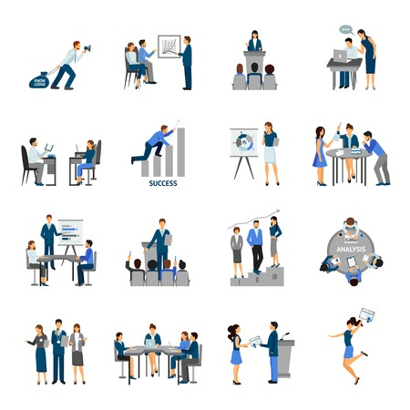 presentation people: Business training and consulting service flat icons set isolated vector illustration