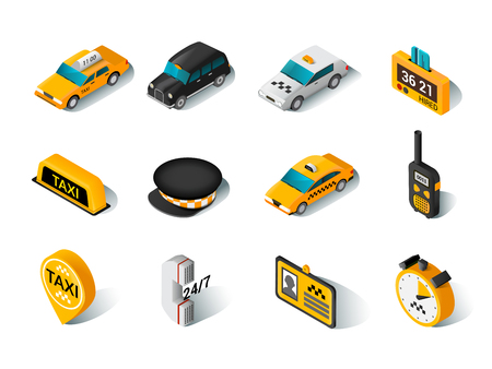 availability: Modern urban yellow hired taxi car accessories and driver hat isometric icons collection  abstract isolated vector illustration