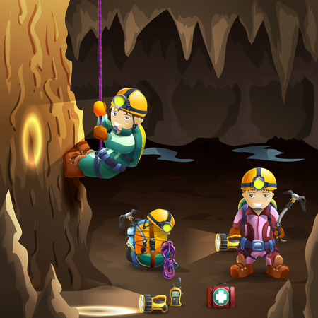 Professionally equipped  speleologists in cave with stalagmite and stalactite on the background 3d poster abstract vector illustration Illustration